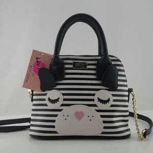 Betsey Johnson Black White Stripe Dog Bear